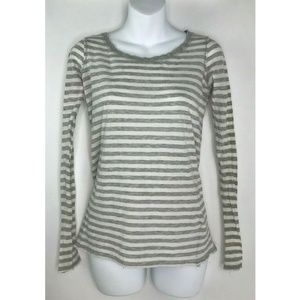 Vince Gray White Striped Soft Knit Long Sleeve M